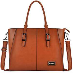 Best Laptop Bags for Women,15.6 Inch Women Briefcase Large Wing Designer Work Tote Computer Bag,Brown