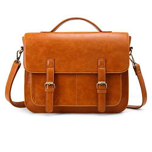 ECOSUSI Messenger Bag PU Leather Laptop Briefcase 14 inch Computer Shoulder Satchel Bag for Women and Men, Brown