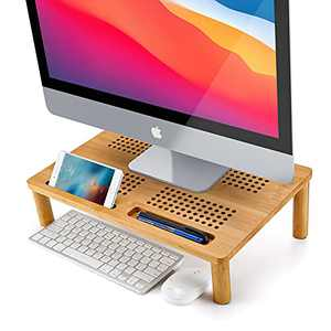 Monitor Stand Riser Nnewvante Bamboo 4-use Adjustable Laptop Tray Vented Premium Computer Elevation Stands for Laptop/Computer Monitor/PC Monitor/Printer