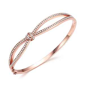 Angelady Rose Gold Plated Wide Bangle Bracelet for Women Girls, Infinity Lucky Endless Bangle, Gift for Mom Wife Girlfriend Daughter