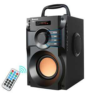 Bluetooth Speaker, Portable Speakers with Subwoofer Wireless Stereo Sound Bass Wooden Outdoor Party Speaker Bluetooth 5.0 Support Remote Control FM Radio for Home, Indoor, Travel, Camping (Black)