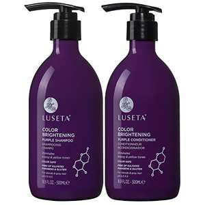 Luseta Purple Shampoo and Conditioner Set for Blonde, Gray - Color Treated Hair - Sulfate Free Paraben Free - Infused with Cocos Nucifera Oil for Curly and Damaged Hair - 2x16.9oz