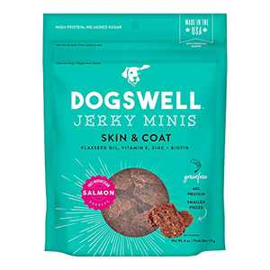 Dogswell Jerky Skin and Coat – Mini Salmon Jerky Dog Treats with Dog Skin & Coat Support (4 oz. Salmon)