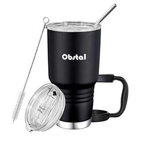 Obstal 30oz Tumbler Stainless Steel Insulated Travel Mug, Double Wall Vacuum Durable Insulated Coffee Cup with Splash Proof Sliding Lid, Straw, Cleaning Brush, Gift Box Set
