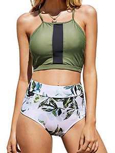 Tutorutor Womens High Waisted Swimsuits Halter Bikini Set Summer Two Piece Criss Cross Midkini Leaf Print Beach Swimwear