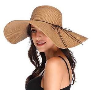 Lanzom Womens Wide Brim Straw Hat Big Floppy Foldable Roll up Cap Beach Sun Hat UPF 50+ (Style D-Khaki)