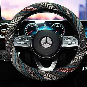 LSAUTO 15inch Steering Wheel Cover Ethnic Style Baja Blanket Universal Fit with Memory Foam Ultra-Soft Car Wrap¡­SWC05