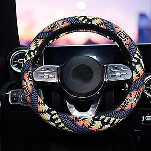 LSAUTO Universal 15inch Coarse Flax Cloth Steering Wheel Cover Ethnic Style with Memory Foam Ultra-Soft Car Wrap Sweat Absorption¡­SWC06