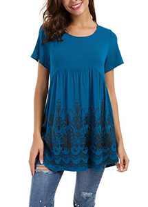 Le Vonfort Short Sleeve Shirts for Women, Ladies Flower Shirt Elegant Vintage Peasant Blouse Work Office Top Lightweight Dressy Flyaway Tunic Paisley Print Tee, Blue XXL