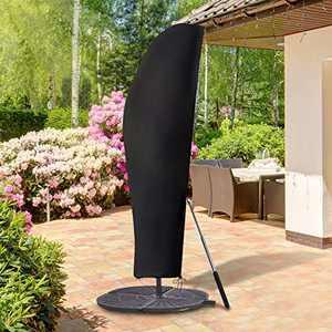 GEMITTO Patio Umbrella Cover, Waterproof Outdoor Offset Market Umbrella Parasol Covers with Zipper & Rod, for 9-13ft Cantilever Umbrellas, Anti-UV Rain Wind Dust(420D Cantilever Umbrella Cover)