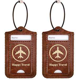 WALNEW Luggage Tag- Initial Bag Tag with Stainless Steel Loop Suitcase Label 2 Pieces Set (Coffe, 2 Piece)