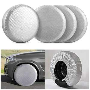 "Kohree RV Tire Wheel Covers Set of 4 for RV Trailer Camper Truck Auto, Waterproof Snow UV Sun Tire Protector for 30"" to 32"" Motorhome Wheel Diameters, Aluminum Film"