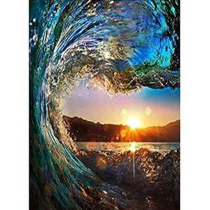 Wizland Diamond Painting 5D DIY Diamond Painting Full Drill Round Resin Beads Pictures Tools Kits ,Arts, Crafts & Sewing Cross Stitch for Home Decor(Waves and Sunset)
