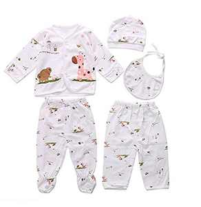 0-3M Newborn Baby Layette Set Cotton Clothes Tops Hat+Pants Suit 5 Pieces Sets (Pink)