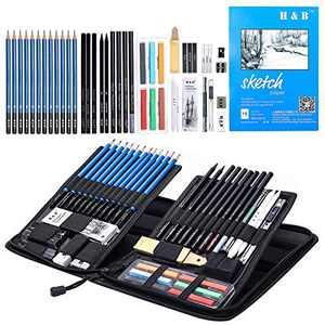 H & B Sketching Pencils Set, 48-Piece Drawing Pencils and Sketch Kit, Complete Artist Kit Includes Sketch Pad, Graphite Pencils, Sharpener & Eraser, Professional Sketch Pencils Set for Drawing