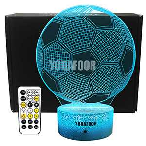 YODAFOOR 3D Night Lights for Kids Baby Teen Children 3D Soccer Illusion Lamp, Birthday Party Gift for Sport Fans, Bedside Table Desk Multi Color Remote Lamp Living Room Decor Nursery Lighting