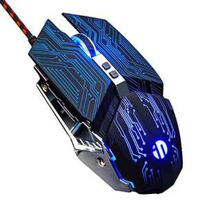 Inphic Gaming Mouse, Silent Click USB Optical Wired PC Laptop Computer Gaming Mouse 4800DPI Ergonomic Mice with 6 Programmable Buttons,4 DPI Adjustment, RGB Breathing LED