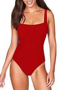 COCOLEGGINGS Female Square Neck Strap Pad One-Piece Swimsuit Monokini Red L