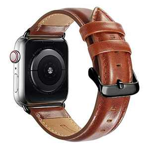 Compatible with Apple Watch Band 44mm 42mm for iWatch Bands Series 6 5 4 3 2 1 SE, MAPUCE Genuine Leather Band Replacement Strap Wristband for Men (Brown)