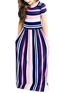 Ofenbuy Girls Easter Maxi Dresses Summer Short Sleeve Striped Empire Waist Long Dress with Pockets Purple