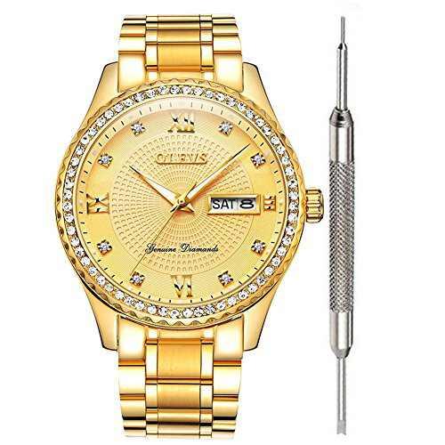 OLEVS Gold Watches for Men Waterproof Diamond Luxury Watches for Men Calendar Date Analog Quartz Watch Stainless Steel Classic Wrist Watch 2020