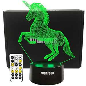 YODAFOOR Unicorn Gifts Night Light for Kids Baby Teen Children 3D Unicorn Illusion Lamp Tab Lights, Great Birthday Christmas Gifts for Unicorn Lovers , Multi Color Remote Lamp Room Decor