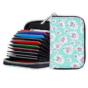 RFID Blocking Credit Card Holder Wallet Canvas Zipper Card Case Small Accordion Wallet for Women Ladies Girls (Green)