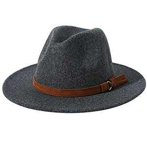 Lanzom Women Lady Felt Fedora Hat Wide Brim Wool Panama Hats with Band (01-Dark Grey)