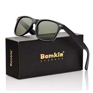 Bemkia Sunglasses Men Women Polarized Retro Classic UV 400 Protection 54 MM (17 Glossy Frame With Rivets/Grey Green Non-Mirror Lens, 54)