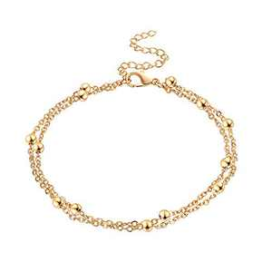 Fesciory Women Anklet Adjustable Beach Ankle Chain Gold Alloy Foot Chain Bracelet Jewelry Gift(Gold Bead)