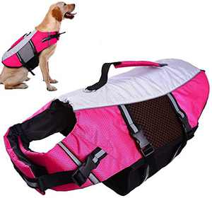 QBLEEV Dog Life Jacket Small,Life Vests Medium for Swimming, Dogs Pool Float Coat Swimsuits Flotation Device Life Preserver Belt Lifesaver Flotation Suit for Pet Bulldog Labrad