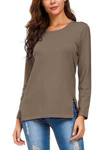 Urban CoCo Women's Solid Pullover Sweater Side Slit (M, Khaki)