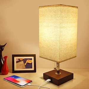 Small Nighstand Lamp, Seealle Brown Table Lamp with USB Charging Port, Pull Chain Lamp with Wood Base for Bedroom Living Room Study Room, Modern Brown Table Lamp for Nightstand