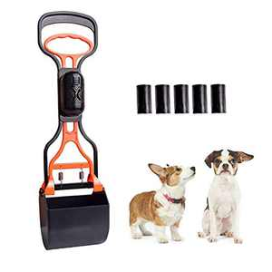 AINOLWAY 17 Inches Dog Pooper Scooper with Pet Poop Bags Long Handle Durable Jaw Clamp Scoop Waste Pick Up Easy to Use for Dog or Cats