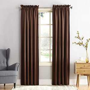 "Sun Zero Barrow Energy Efficient Rod Pocket Curtain Panel, 54"" x 108""-1, Chocolate Brown"