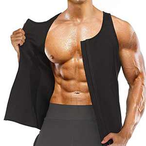 Men Zipper Waist Trainer Vest Weight Loss Hot Sweat Slimming Body Shaper Neoprene Sauna Suit Workout Tank Top (Black Sport Sweat Shirt, X-Large)