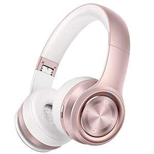 Picun P26 Bluetooth Headphones Over Ear 80H Playtime Hi-Fi Stereo Wireless Headphones Girl Deep Bass Foldable Wired/Wireless/TF for Phone/TV Bluetooth 5.0 Wireless Earphones with Mic Women (Rose Gold)