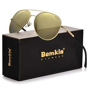 Bemkia Sunglasses Men Women Aviator,Polarized 60mm Len Shades Metal Frame UV400,Golden