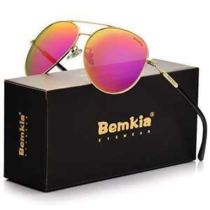 Bemkia Sunglasses Men Women Aviator,Polarized 60mm Len Shades Metal Frame UV400,Rose Red