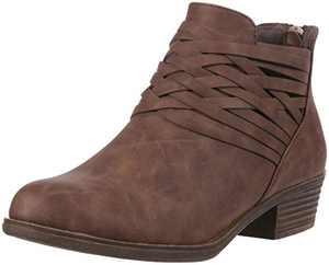 Sugar Women's Rhett Dress Block Heel Ankle Boot, Ladies Back Zip Bootie with Criss Cross Wraparounds Cognac 9