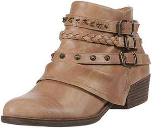 Sugar Women's Truth Triple Buckle Ankle Boot Ladies Side Zipper Bootie with Woven Wraparounds Studs and Overlay Tan 6.5