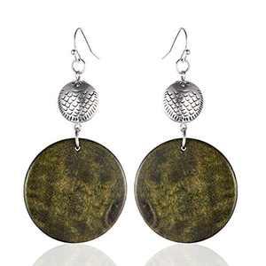 Beautiful Vintage Fish Beads & Wood Dangle Earrings Drop Earrings for Women Jewelry (Green)