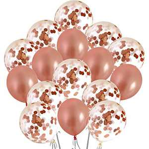 Rose Gold Balloons and Party Decorations, 18-Inch Rose Gold Confetti Balloon Set for Bachelorette Parties and Bridal Showers (16 Pack)