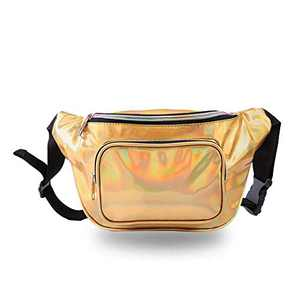 JIGSEAME Holographic Fanny Pack Waterproof Waist Bag for Women-Fashion Waist Bag for Travel,Cycling,Festival and Leisure (Gold)
