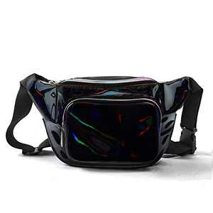 JIGSEAME Holographic Fanny Pack Waterproof Waist Bag for Women-Fashion Waist Bag for Travel,Cycling,Festival and Leisure (Black)
