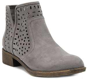 Sugar Women's Calico Ankle Bootie Boot with Perferated Chop Out Design Grey Fabric 7.5