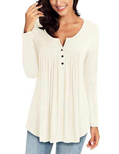 LookbookStore Women's Beige Long Sleeve Henley V Neck Ruched Shirt Button Tunic Tops Blouse M(US 8-10)