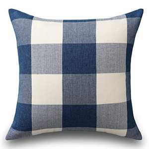 Home Brilliant Buffalo Checkered Plaids Thanks Giving Throw Pillow Covers Decorative Euro Pillow Cover for Bed, 26 x 26 inch(66 cm), Navy Blue