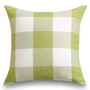 Home Brilliant Checkers Plaids Euro Sham Farmhouse Throw Pillow Cover for Patio, 26x26 inches, Green Grass
