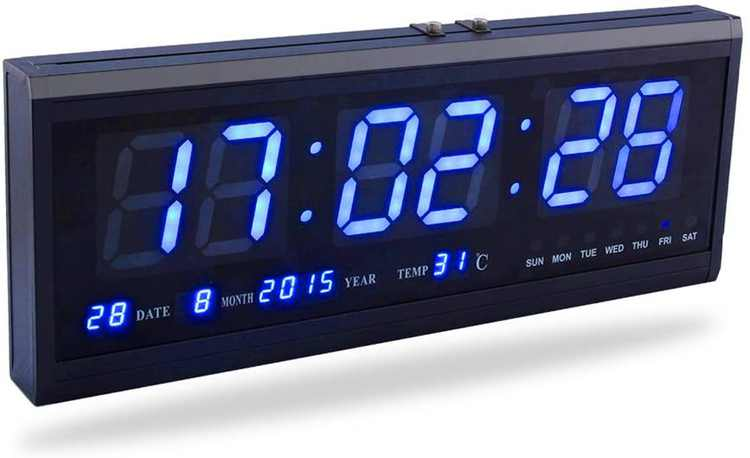 Large Led Digital Clock With Time Calendar Date And Temperature Indication Desk Clock for Home Office Restaurant Airport Bank (Blue)